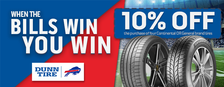 Buffalo Bills Win! Receive 10% off your purchase of any four (4) Continental OR General brand tires