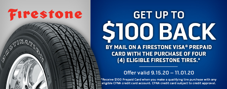 Firestone Tires Fall Rebate Up To $100 Back When Using CFNA Credit Card