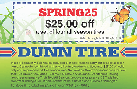 Dunn tire discount coupons