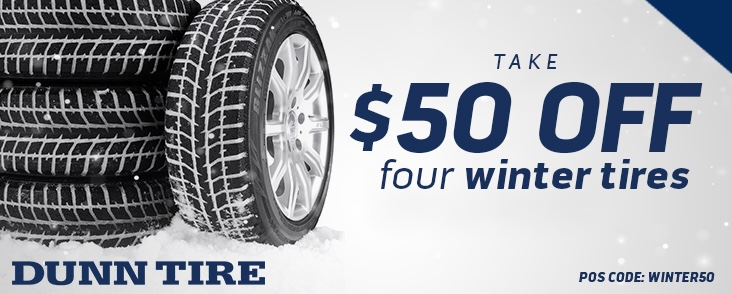 Tire Discount Instant Savings of $50 off 4 winter tires throughout February 2021
