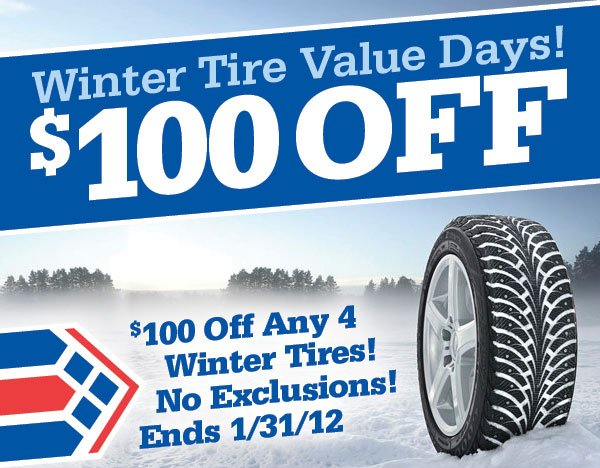 100 Off Any Four Winter Tire Purchase