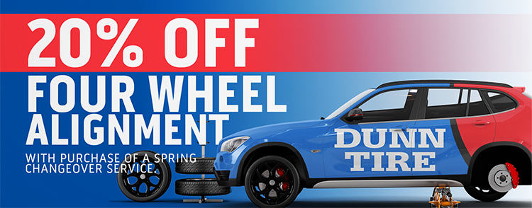 Instant 20% off a four wheel alignment when combined with a seasonal tire changeover service.