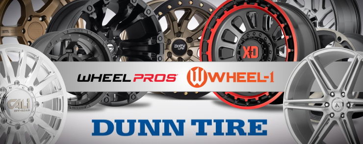 Shop wheels at Dunn Tire! Wheel Pros and Wheel One rims or shop new wheel and tire packages.